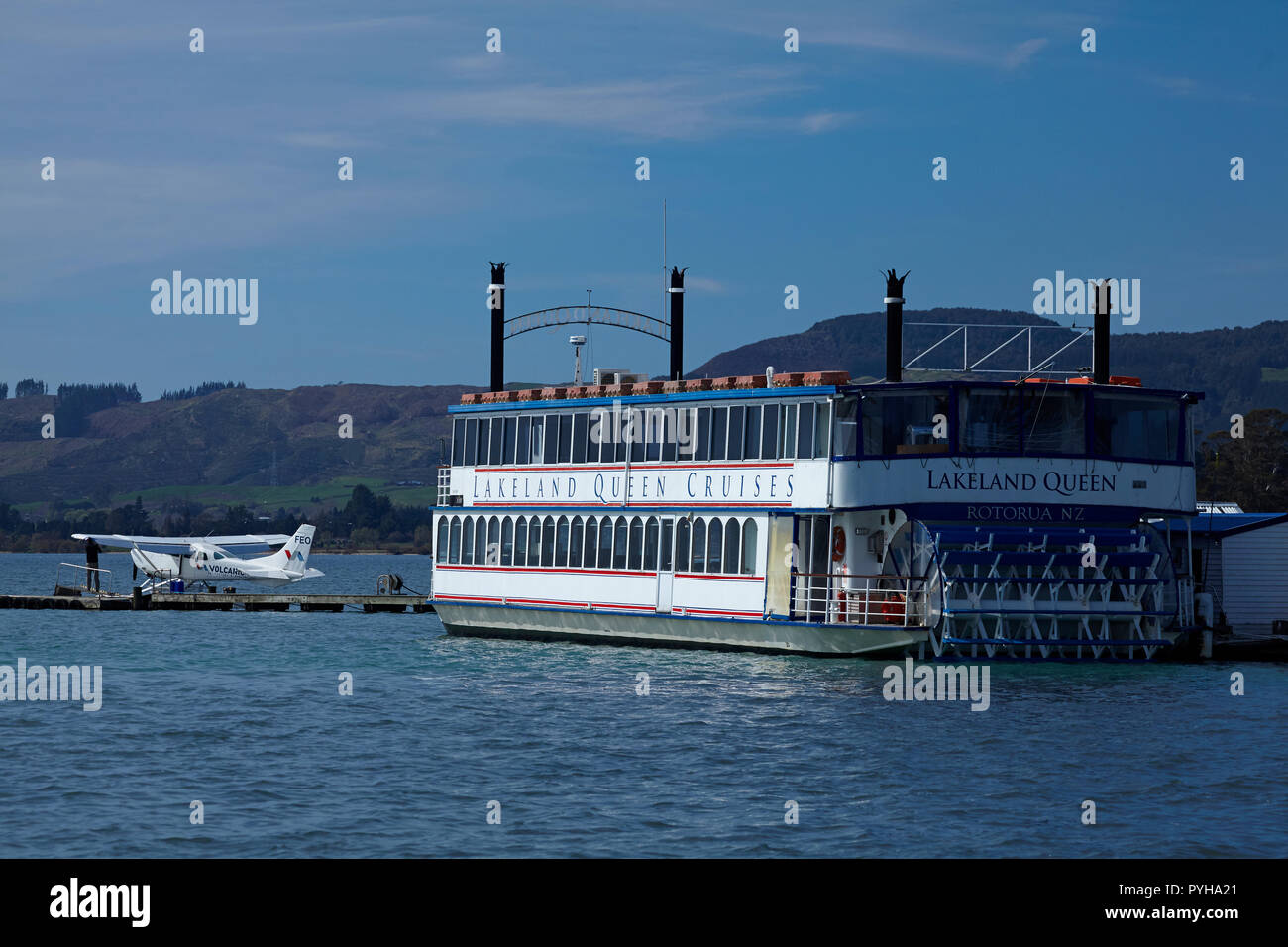 Lakeland Queen paddle steamer and float plane, Lake Rotorua, North Island, New Zealand - Stock Image