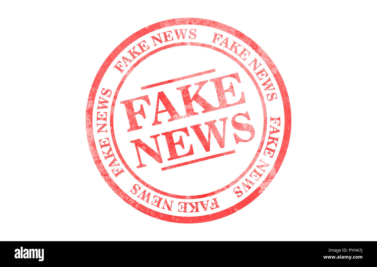 Fake news red round stamp isolated on white background. 3d illustration - Stock Image