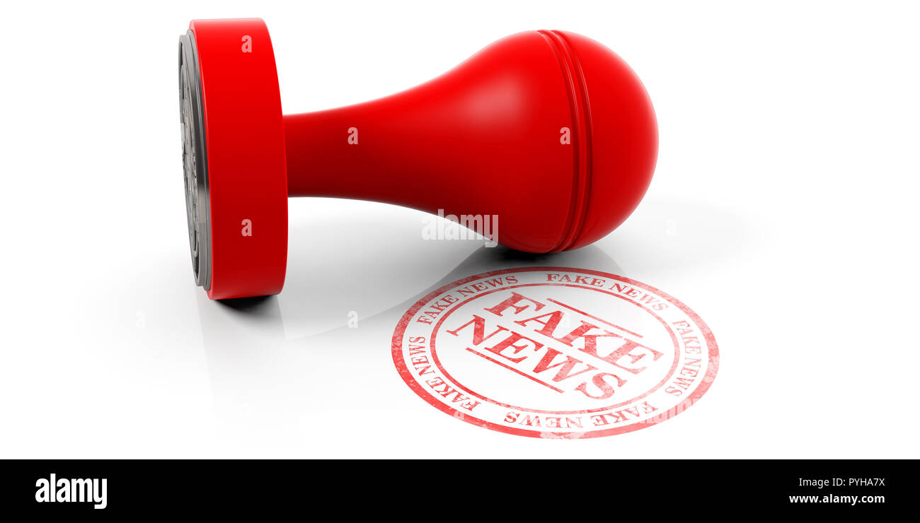 Fake news red round stamp and wooden stamper isolated on white background. 3d illustration - Stock Image