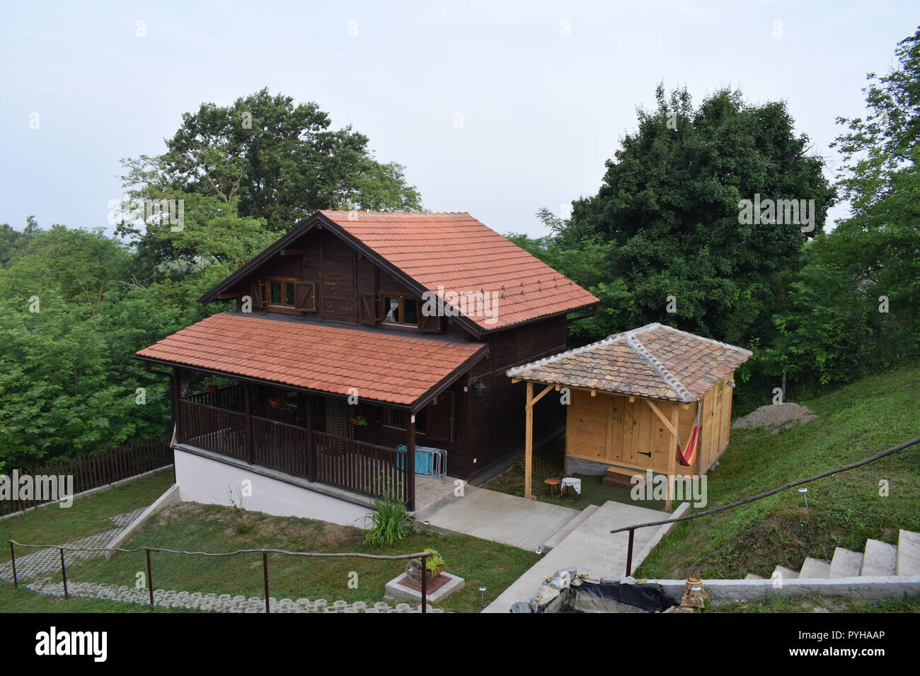 Wooden house in Serbia (rural turism) - Stock Image