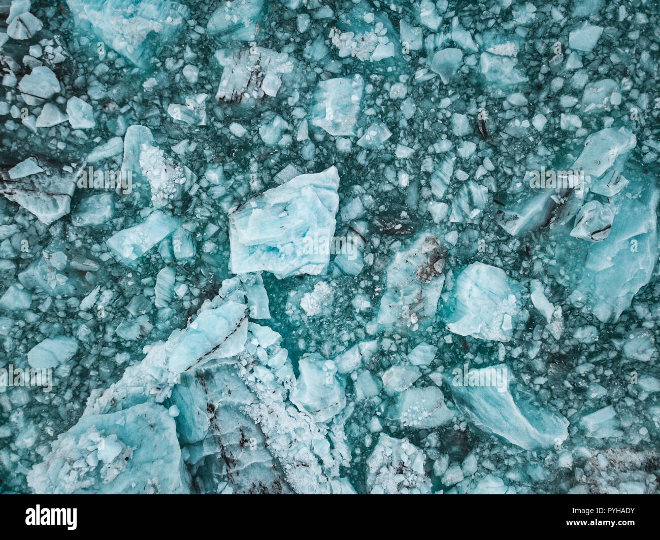 Spectacular glacial lagoon in Iceland with floating icebergs - Stock Image
