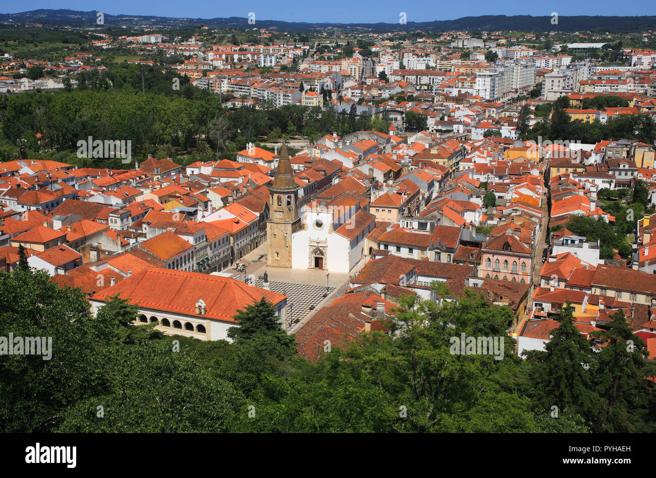 Tomar, Portugal. View of the historical centre from The 12th-century Convent of Christ. Founded by the Knights Templars. UNESCO World Heritage Site - Stock Image