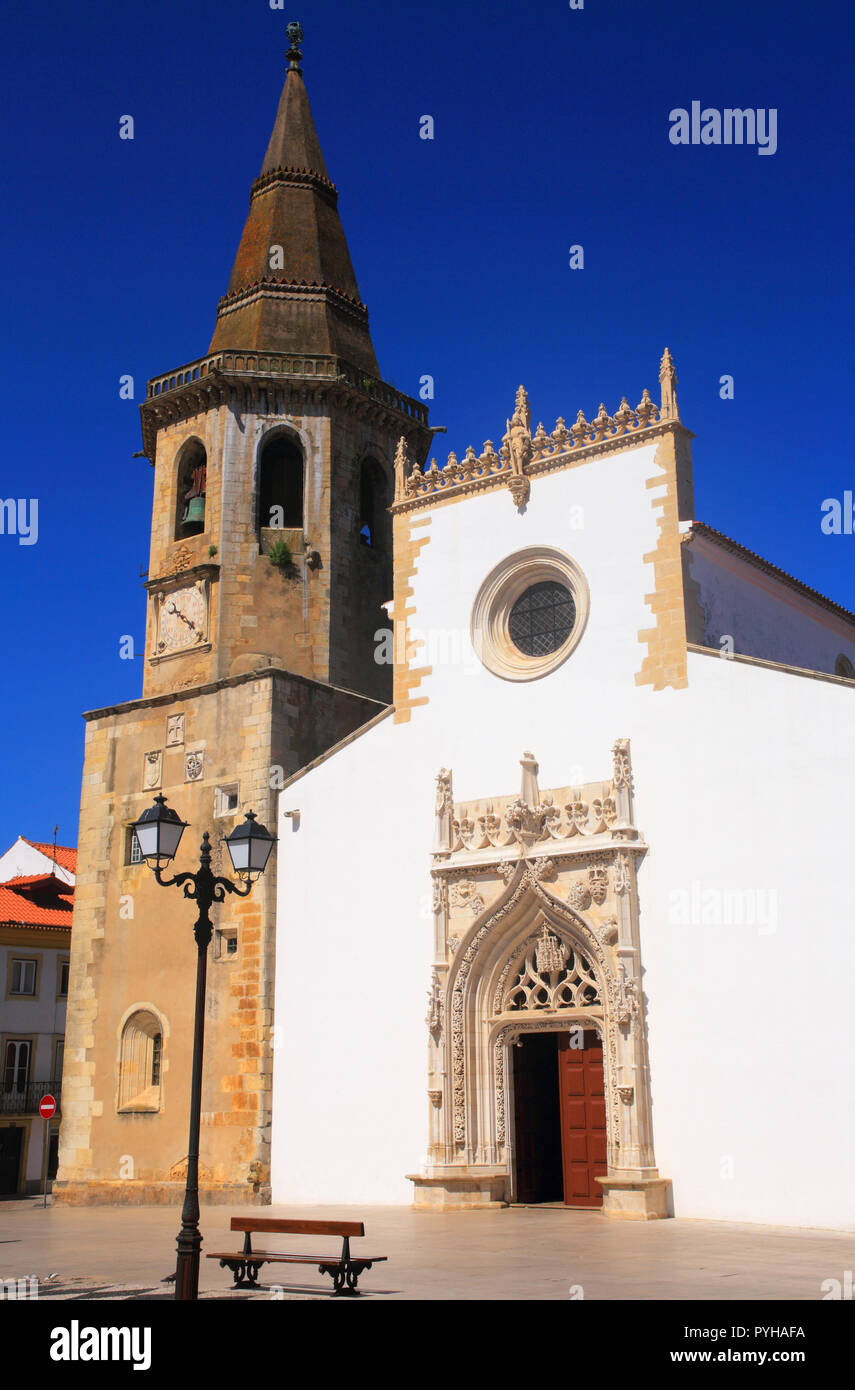 Portugal, Tomar. Facade of the Church of Saint John the Baptist, built between 15th and 16th Centuries. UNESCO World Heritage Site. - Stock Image