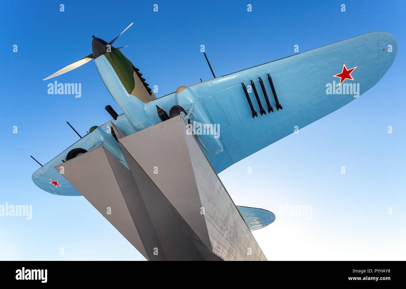 "Samara, Russia - January 28, 2018: Monument to low-flying attack airplane ""Ilyushin 2"" of the Second World War Stock Photo"