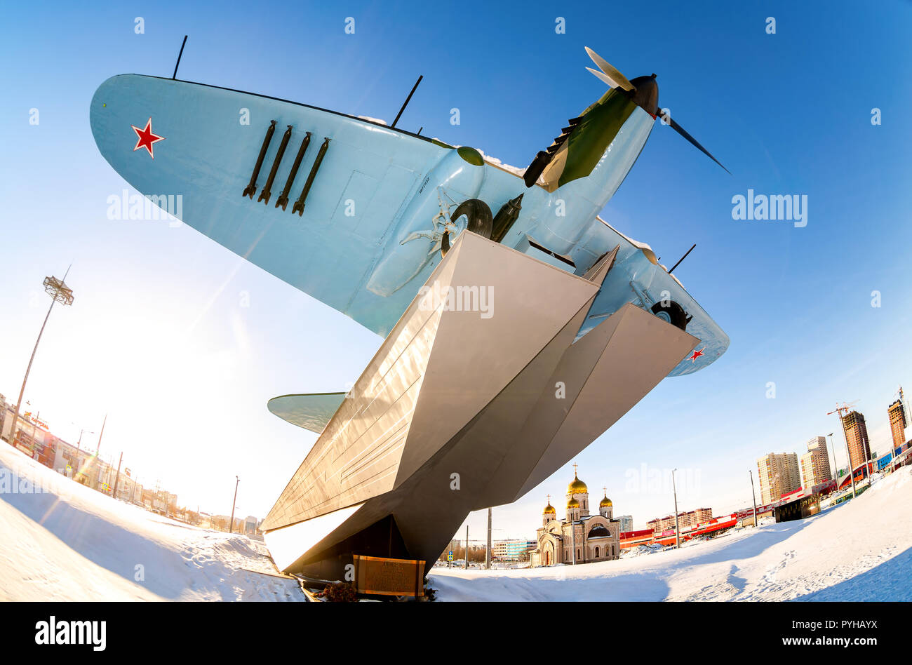 "Samara, Russia - January 28, 2018: Monument to low-flying attack airplane ""Ilyushin 2"" of the Second World War Stock Photo"