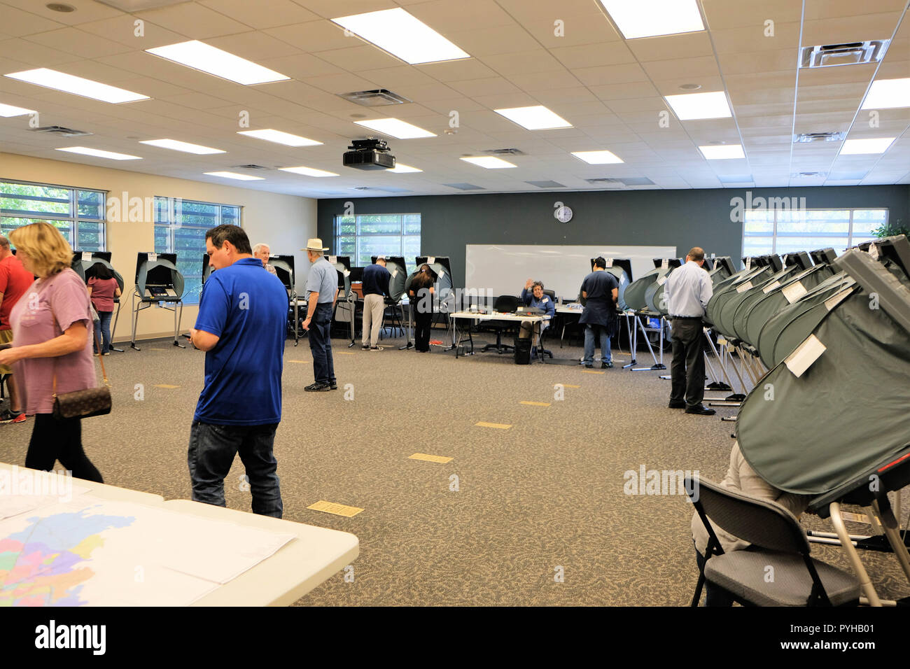 Voting booths in College Station, Texas, USA; early voting; 2018 midterm elections. - Stock Image