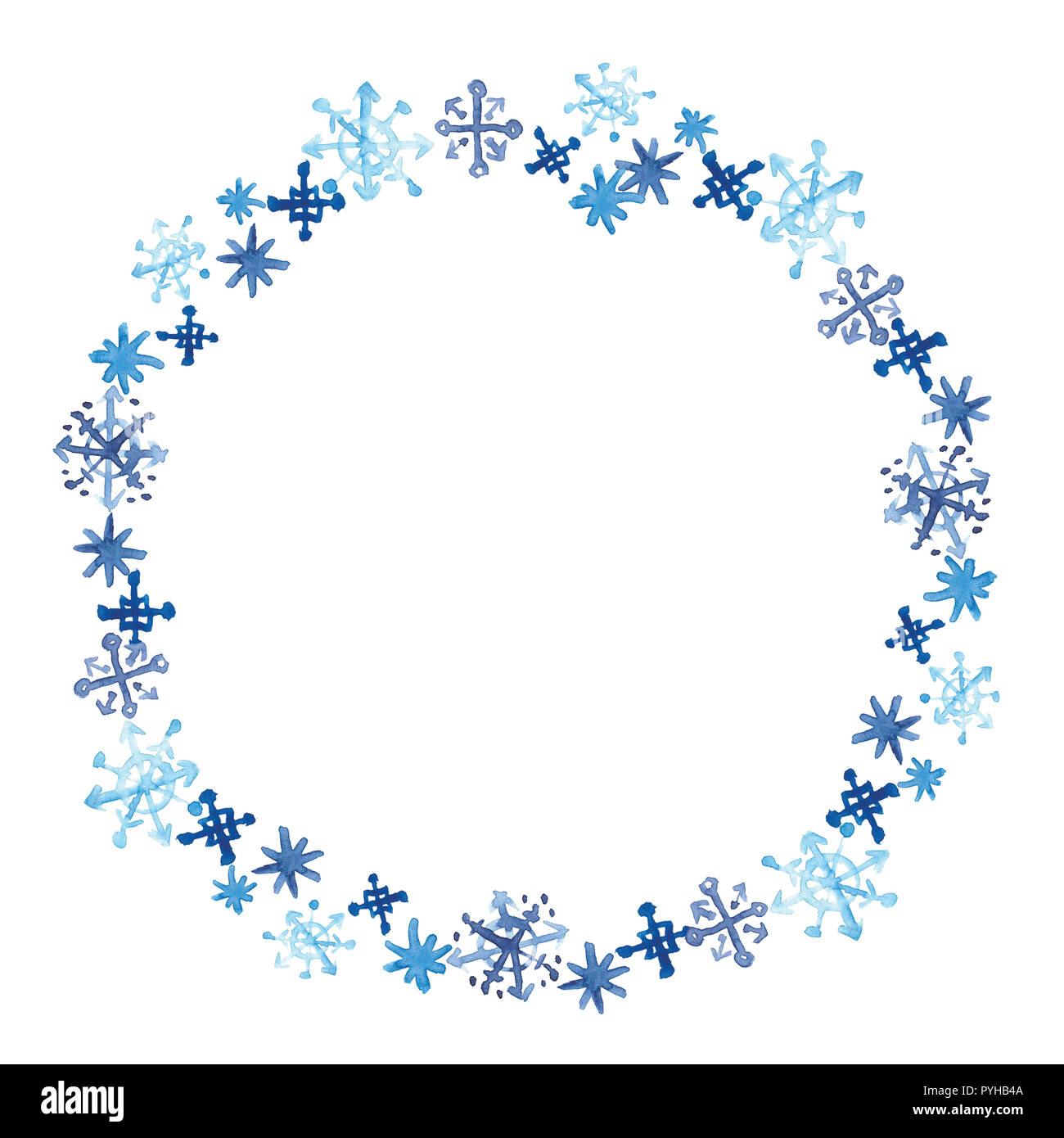 round snowflake template  Watercolor snowflakes round frame. Winter tracery card ...