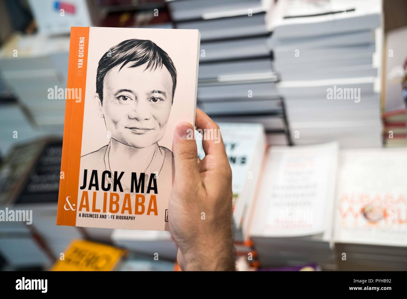 A Book About The Founder Of Alibaba Group Jack Ma Seen On Sale In A