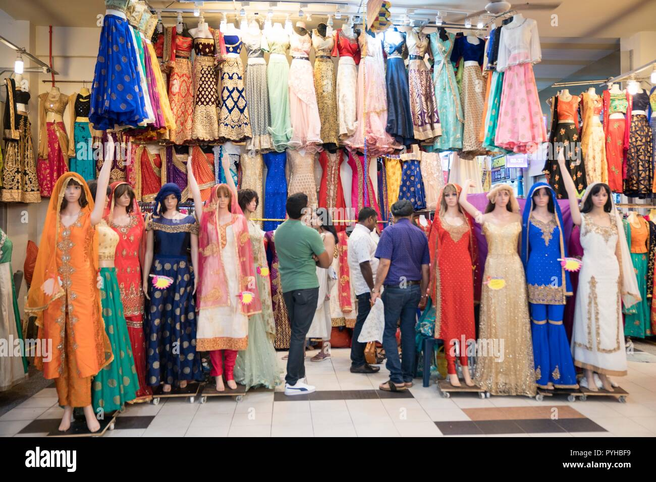 1d90edc20f A clothing store seen selling Indian traditional clothings in Little India  in Singapore. - Stock