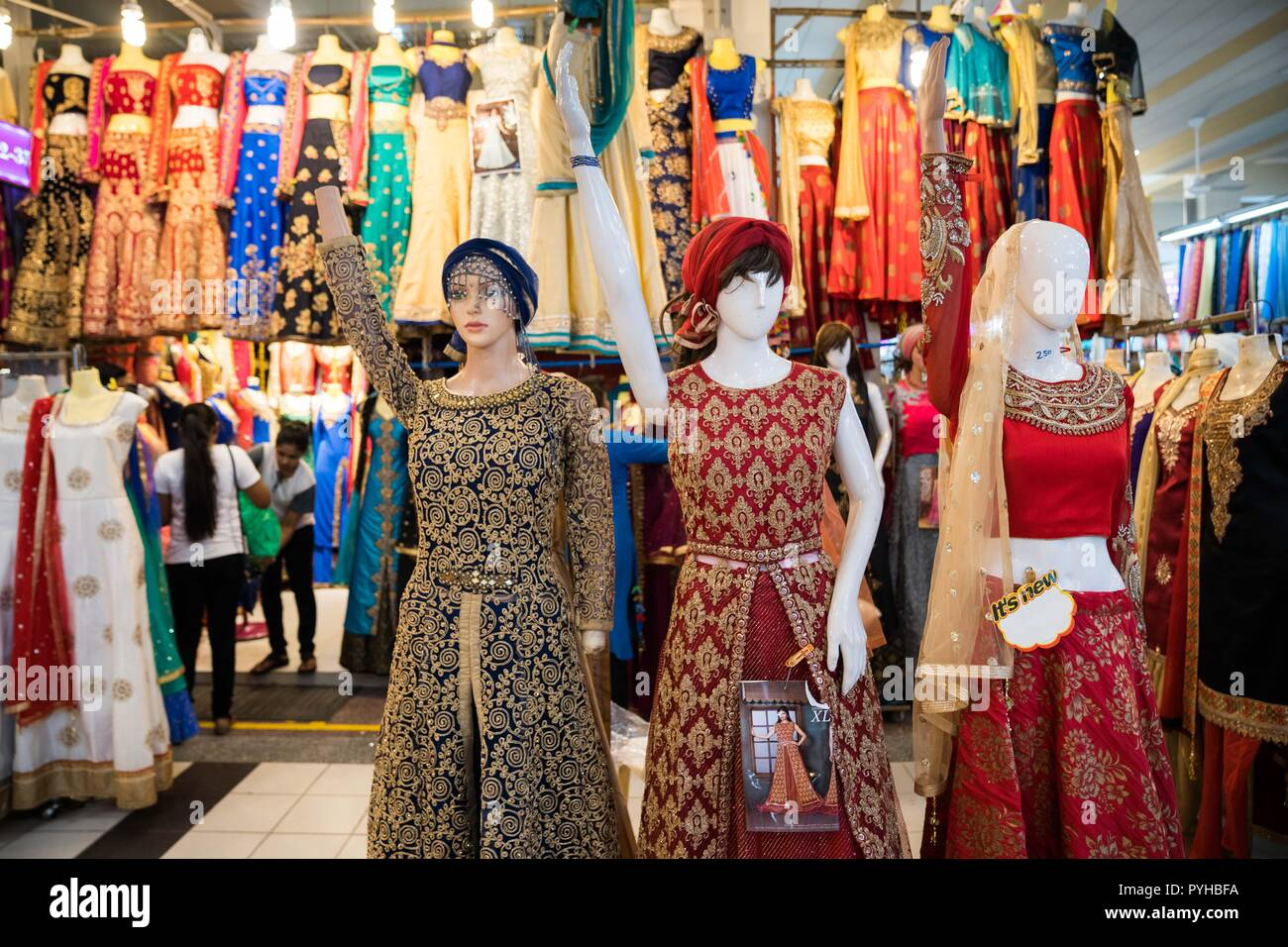 9d6c62b67d Indian traditional clothings seen dressed on mannequins in a clothing store  in Little India in Singapore