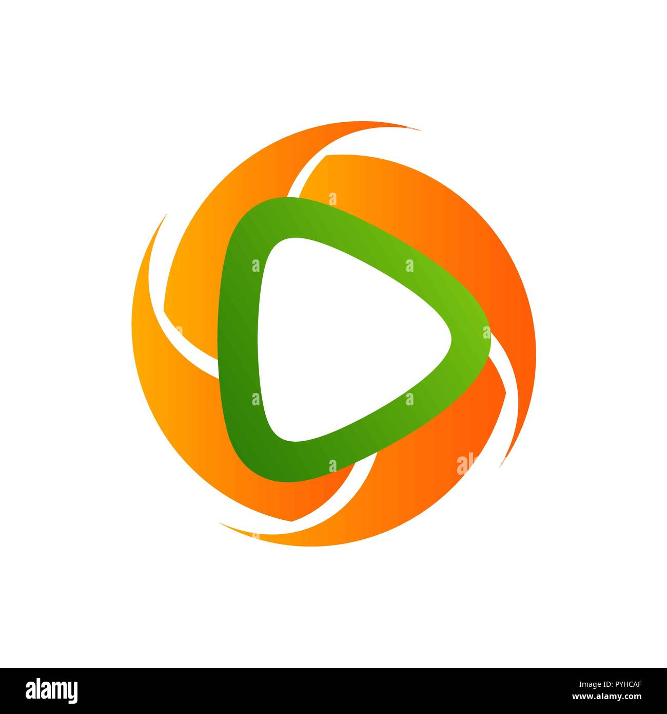 Circle Polygonal media Player icon Logo template - Stock Vector