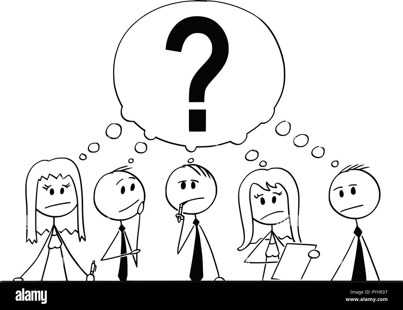 Cartoon of Group of Business People Thinking With Question Mark Above - Stock Image