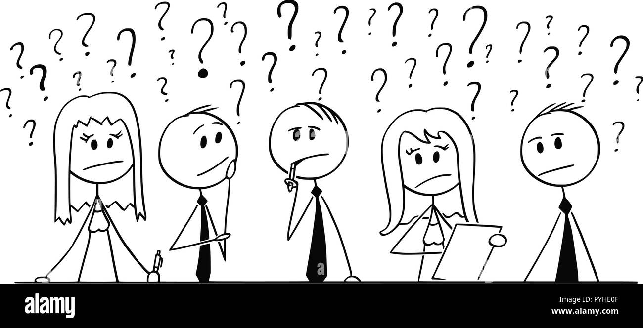 Cartoon of Group of Business People Thinking With Question Marks Around - Stock Image