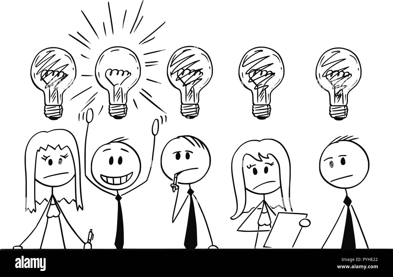Cartoon of Group of Business People Thinking About Problem - Stock Image