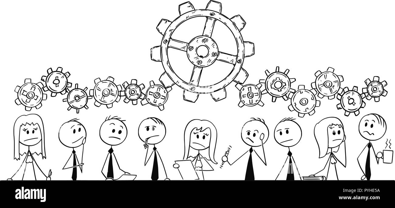 Cartoon of Group of Business People, Businessmen or Businesswomen Thinking During Brainstorming - Stock Image