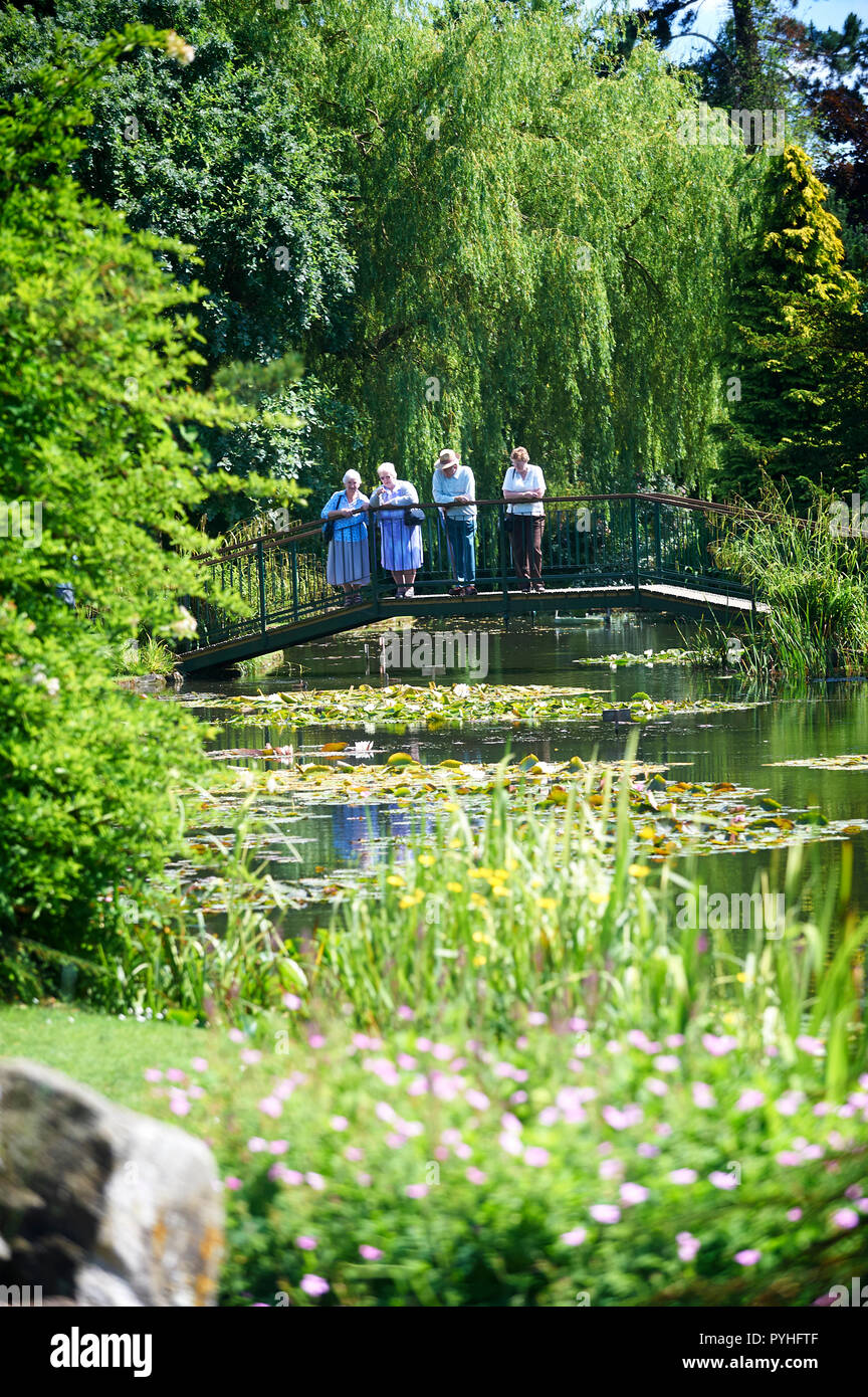Elderly Retired people enjoying a day out at Burnby Hall Gardens, Pocklington, East Riding of Yorkshire, England, UK, GB. - Stock Image