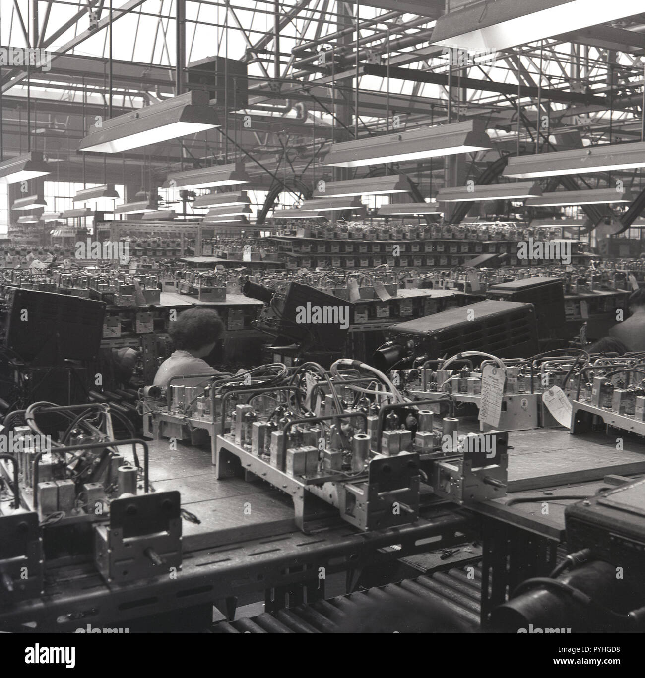 1950 Historical Female Worker On The Production Line At The Bush