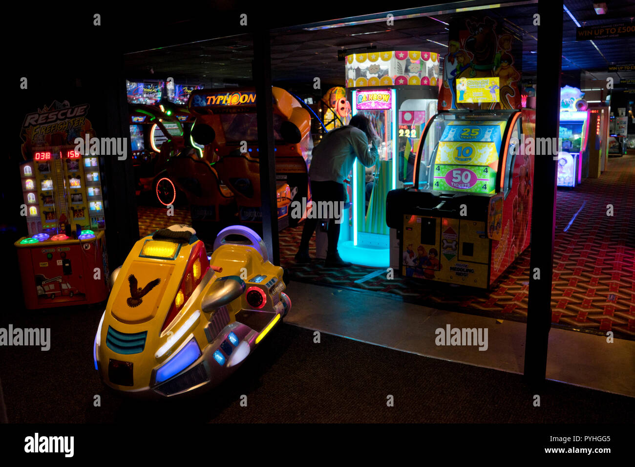 Arcade games by the pier on the seaside in Aberystwyth,Ceredigion,Wales - Stock Image