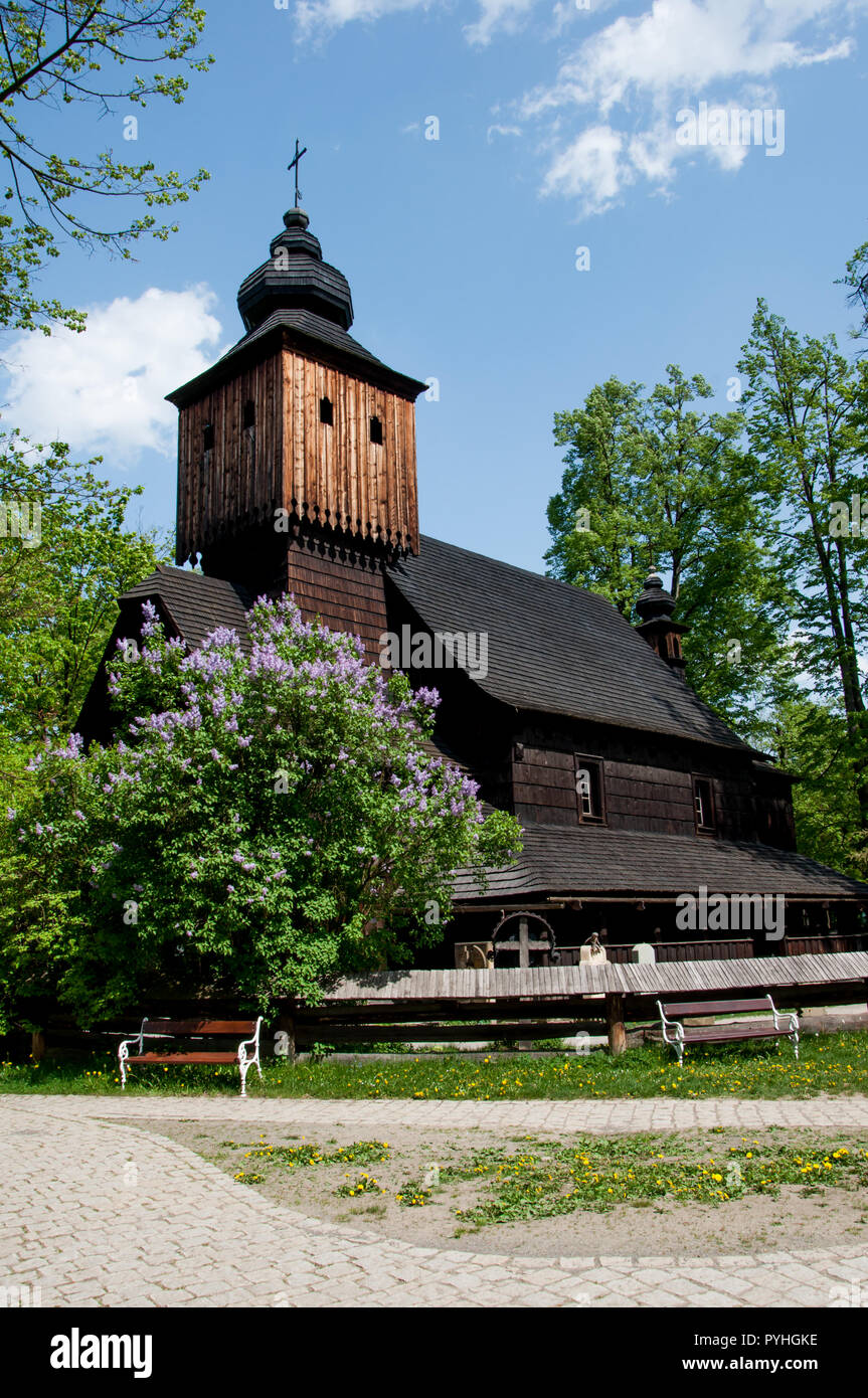 A wooden St. Anne's Church in The Wallachian Open Air Museum of folk architecture, The Little Wooden Town,  Roznov pod Radhostem, Zlin region, - Stock Image