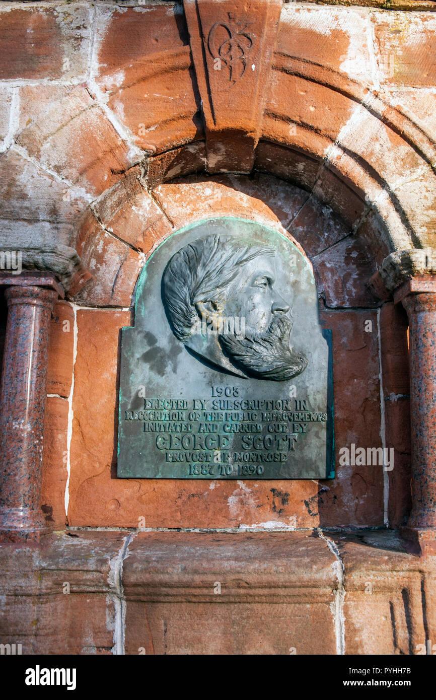 Memorial to George Scott, previous Provost of Montrose, Angus, Scotland. Stock Photo