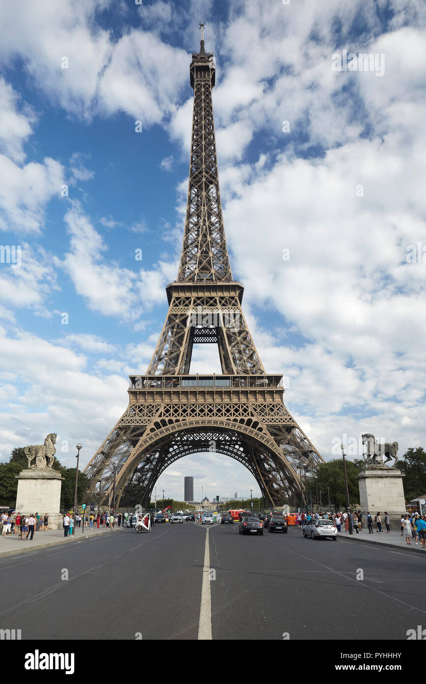 Paris, Ile-de-France, France - View from the bridge Pont d'Iéna to the Eiffel Tower - the main landmark of the French capital. - Stock Image