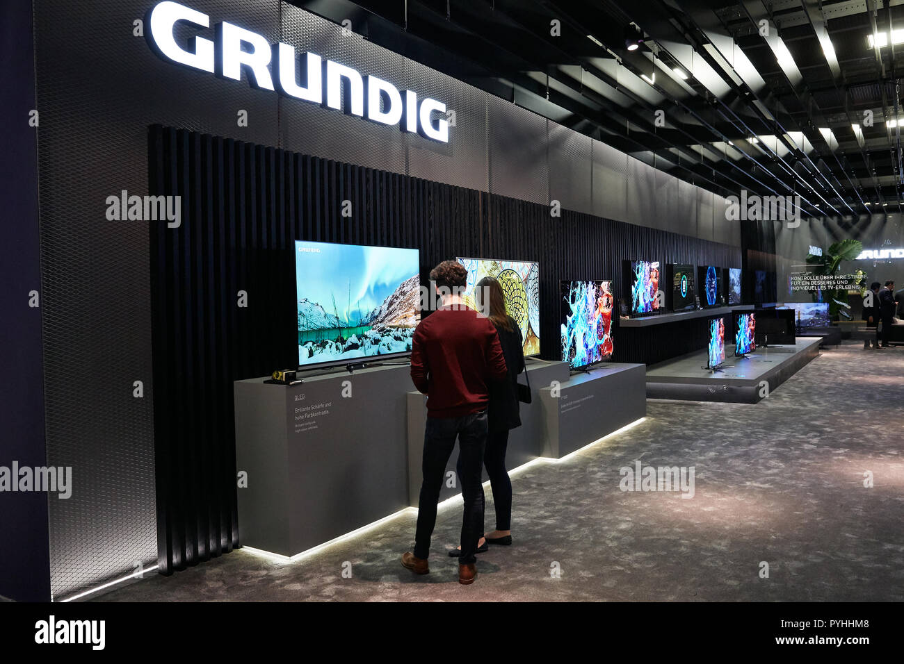 Berlin, Germany - GRUNDIG's stand at IFA 2018 with innovations in flat-screen televisions. - Stock Image