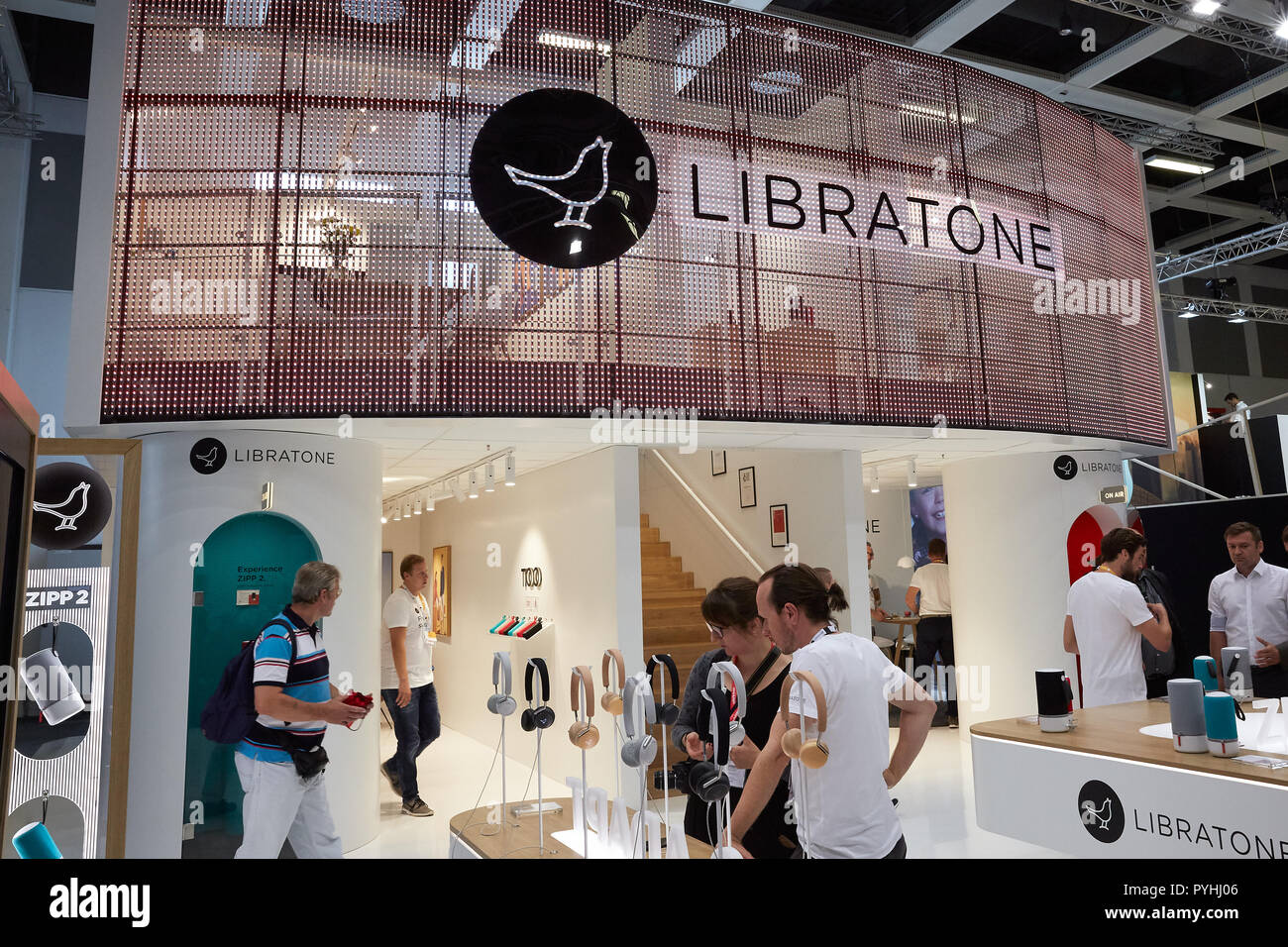 Berlin, Germany - The Danish company Libratone is presenting its innovations at IFA 2018. - Stock Image