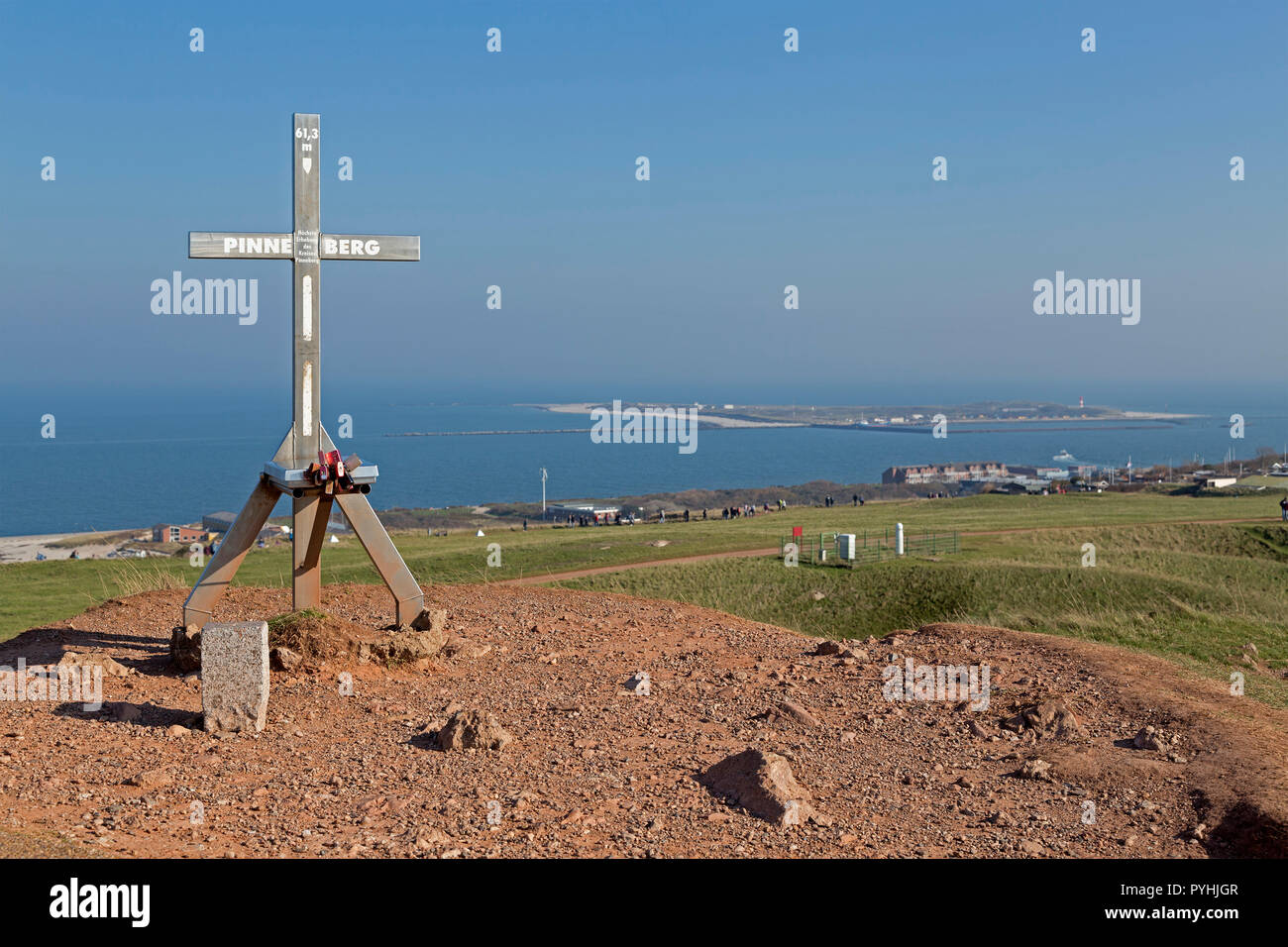 highest point of Pinneberg rural district, in the background the Duene (dune), Heligoland, Schleswig-Holstein, Germany - Stock Image