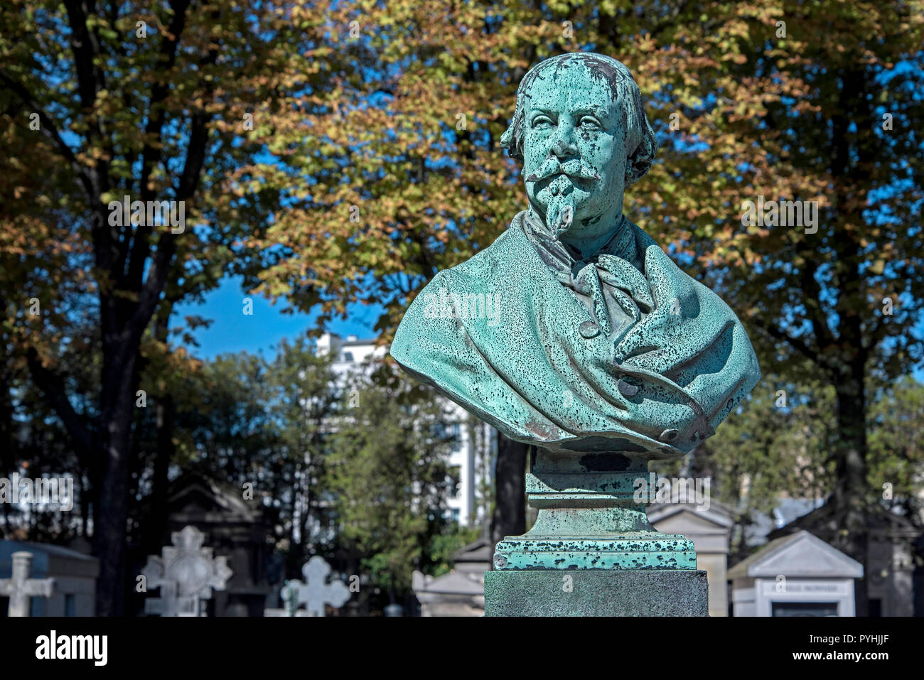 The bust of Charles Geoffroy (1819-1882), 19th century print engraver, in Passy Cemerery, Paris, France. - Stock Image