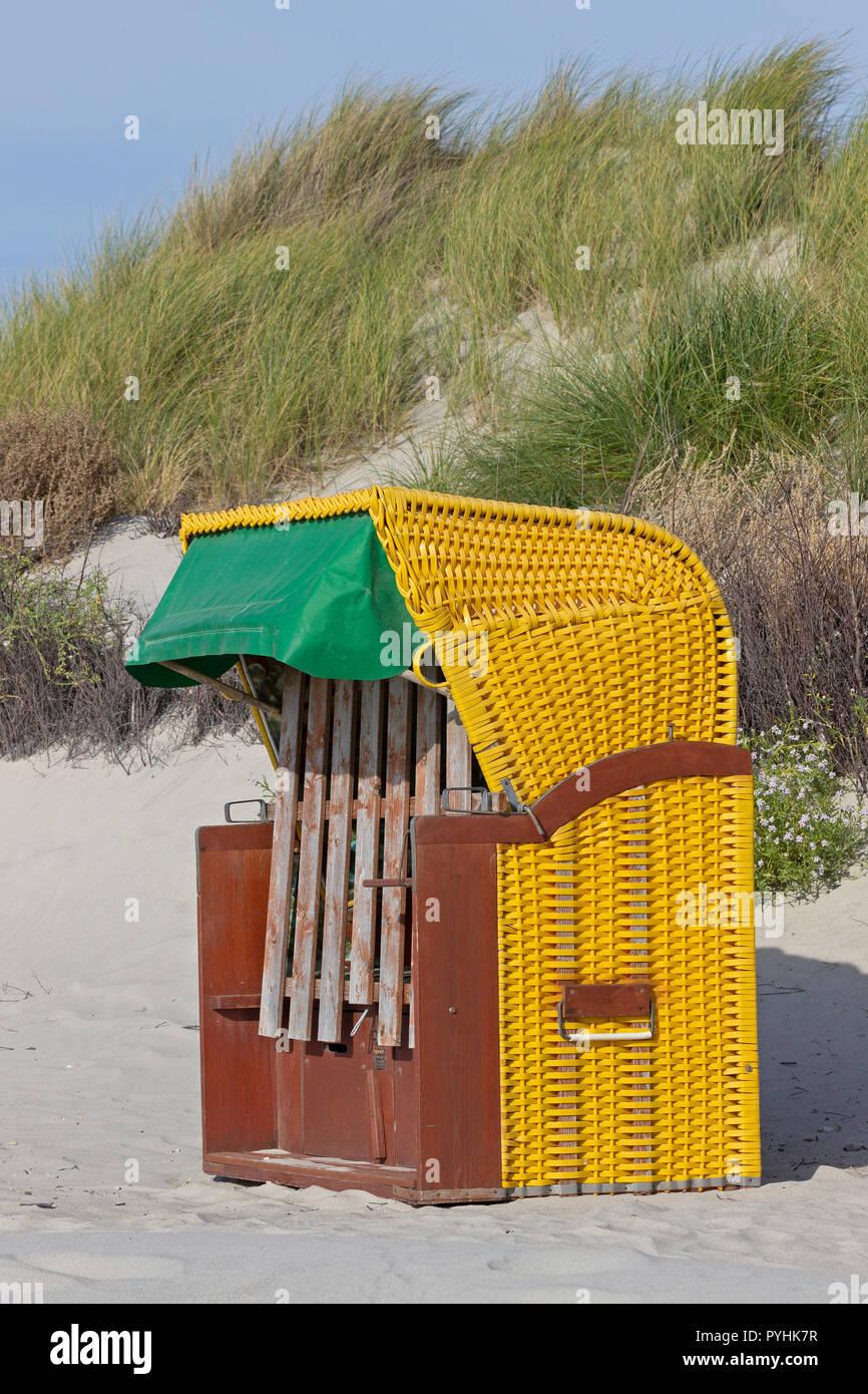 beach chair, Duene (dune), Heligoland, Schleswig-Holstein, Germany Stock Photo