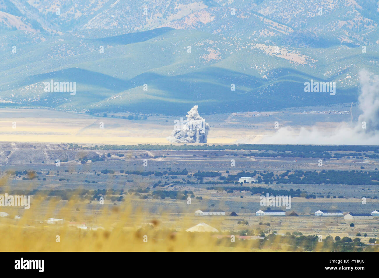 Munition Testing in the mountains of Tooele, Utah. - Stock Image