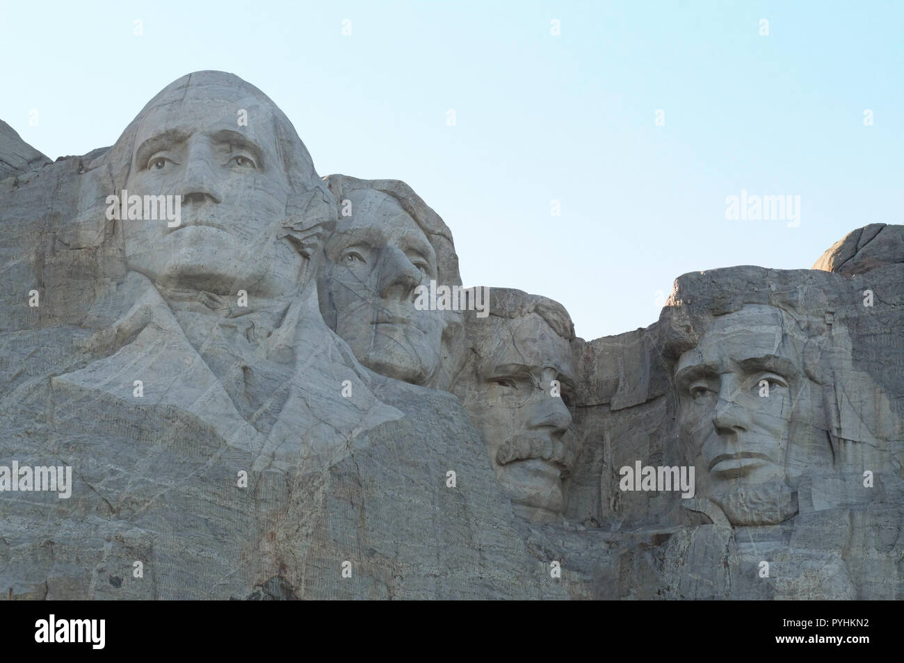 The Mount Rushmore National Monument at sunset. Stock Photo