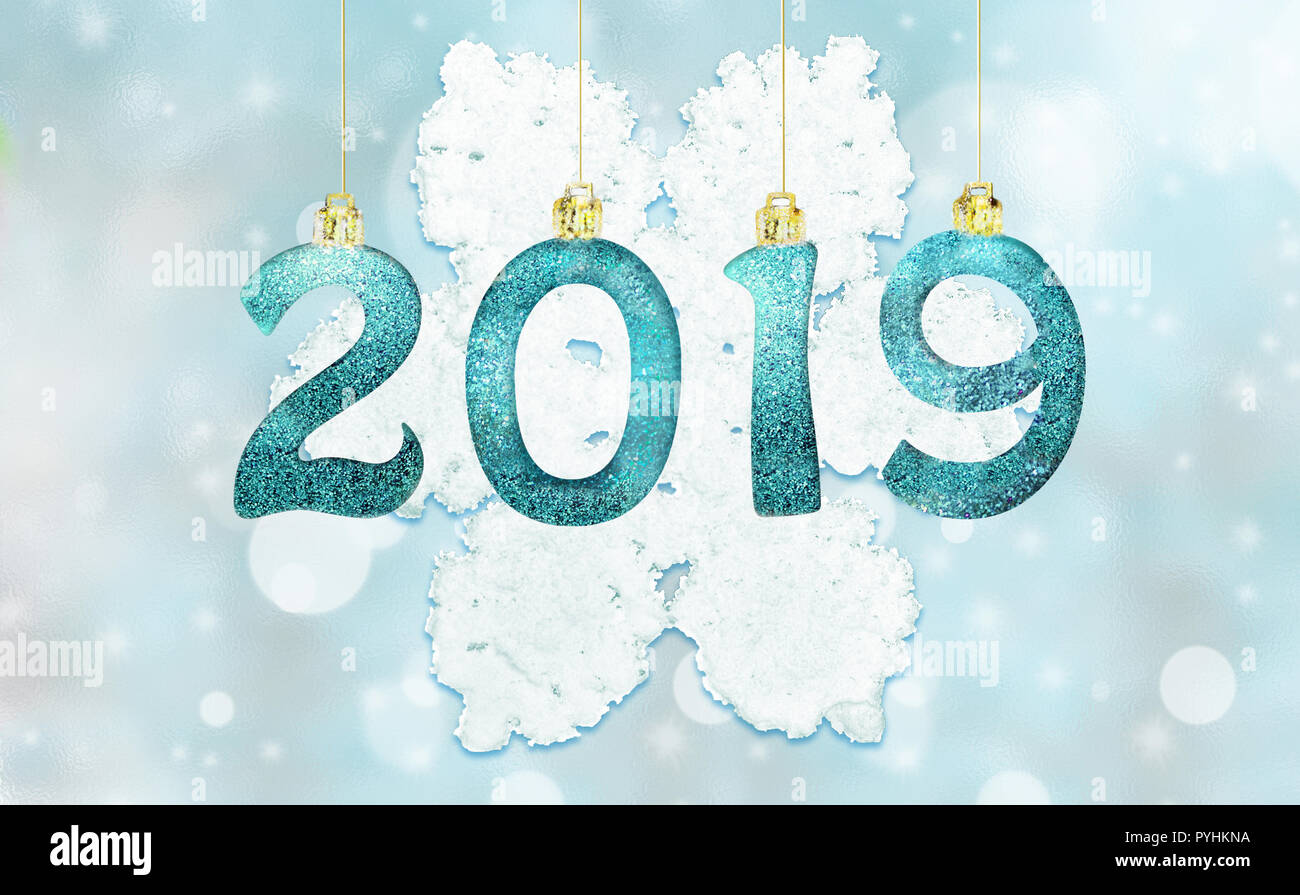 set of silver shiny digits on glitter background new year 2019 background christmas