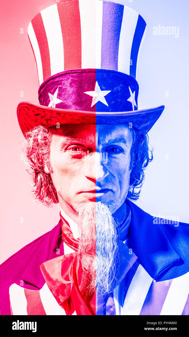 An illustration using the Uncle Sam character showing divided US government between the 'Red' and the 'blue' / Republicans and Democrats. - Stock Image