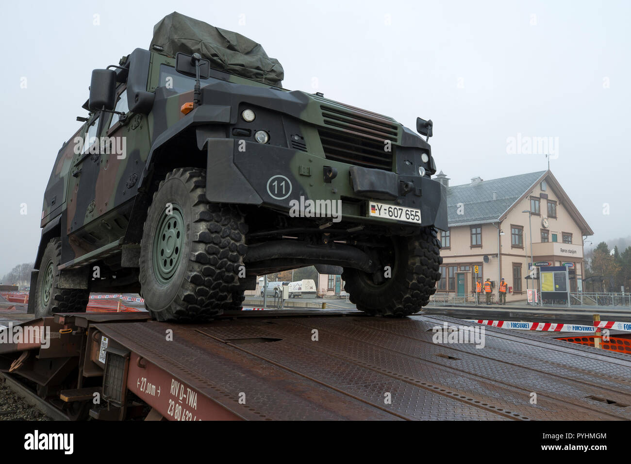 After Rail Transport From Germany To Norway The Mowag Eagle Wheeled Armored Vehicle Of The German