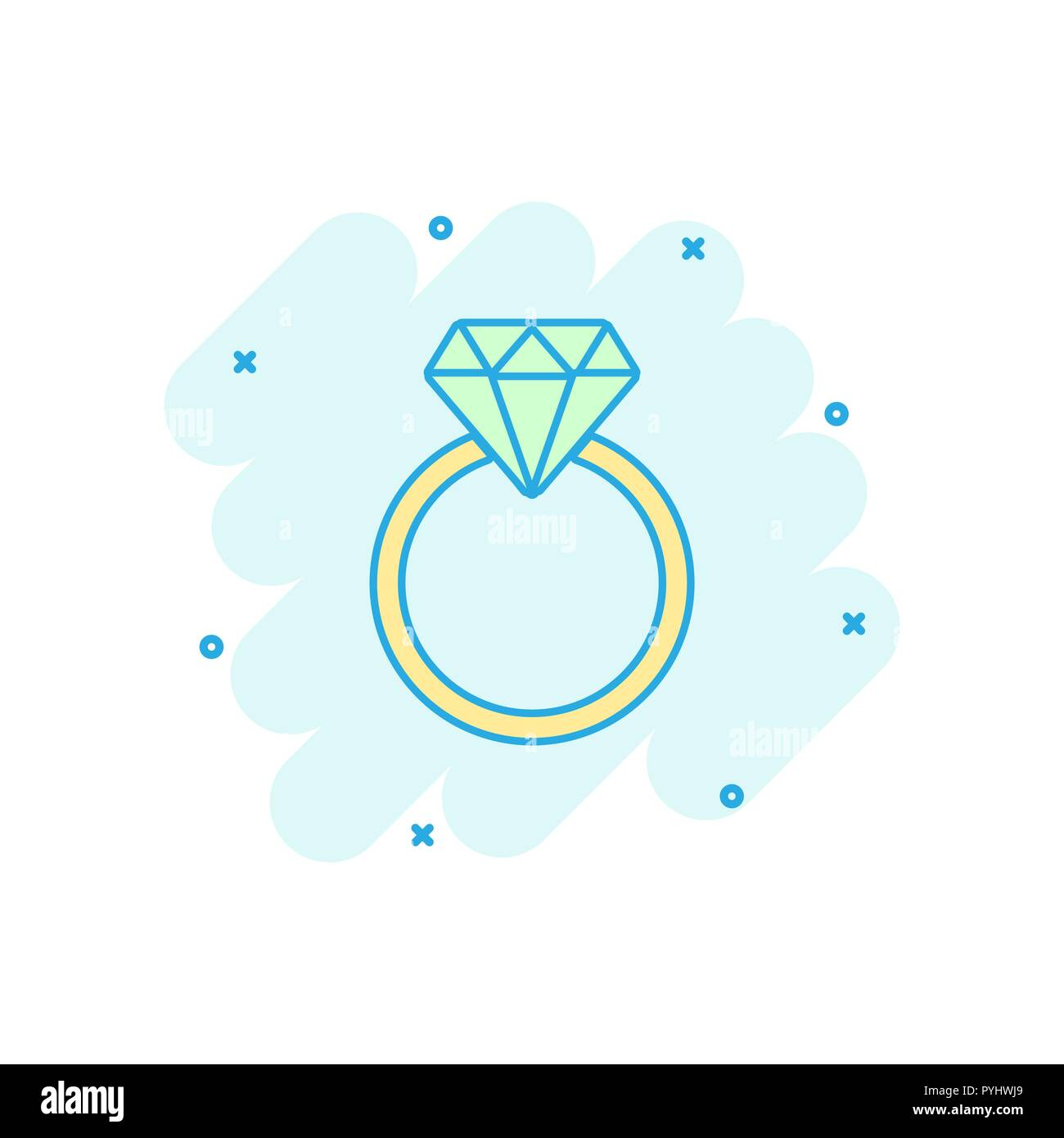 Vector Cartoon Engagement Ring With Diamond Icon In Comic Style Wedding Jewelery Ring Illustration Pictogram Romance Relationship Business Splash Ef Stock Vector Image Art Alamy