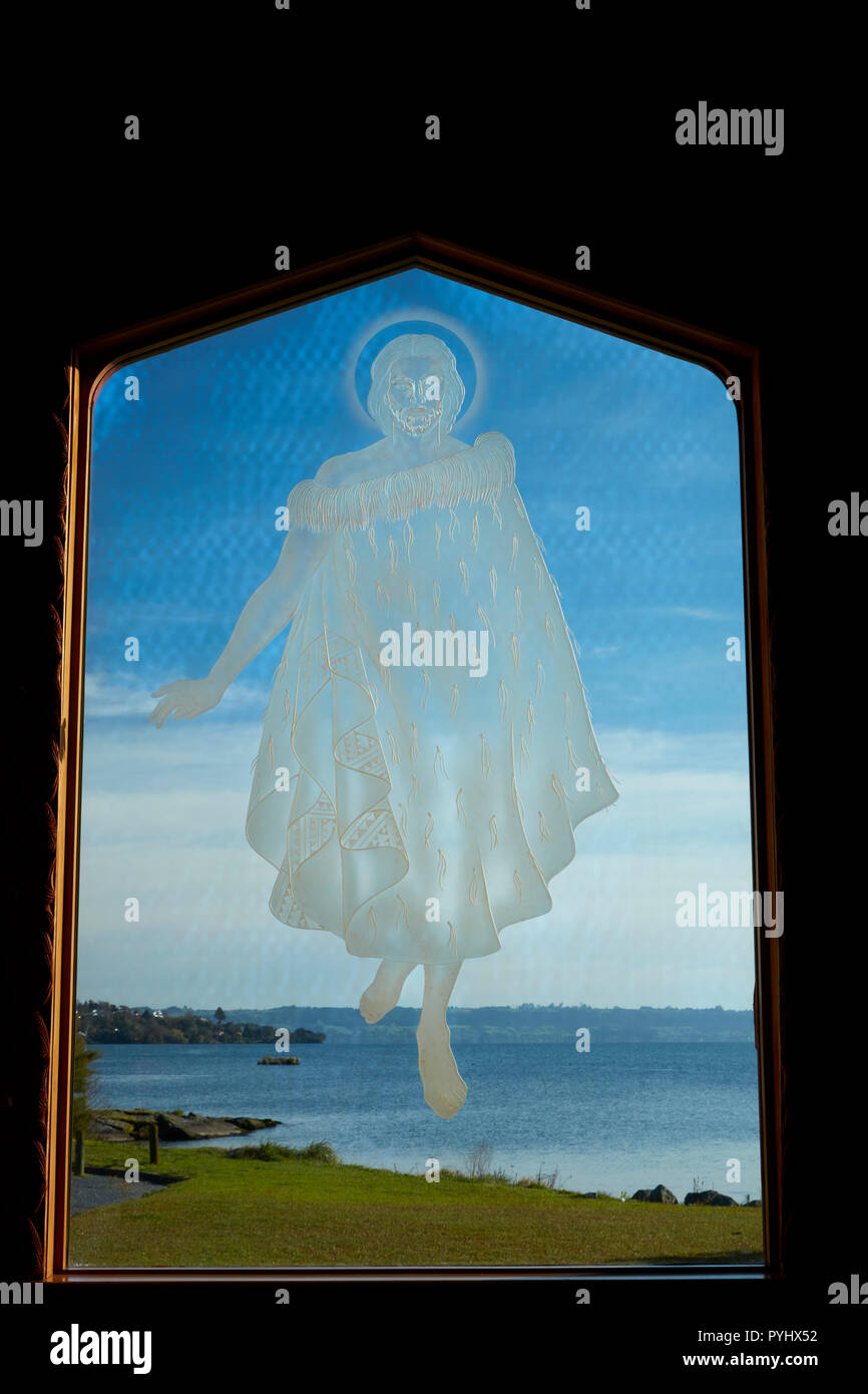 Maori Jesus walking on water, etched on Window, St. Faith ...