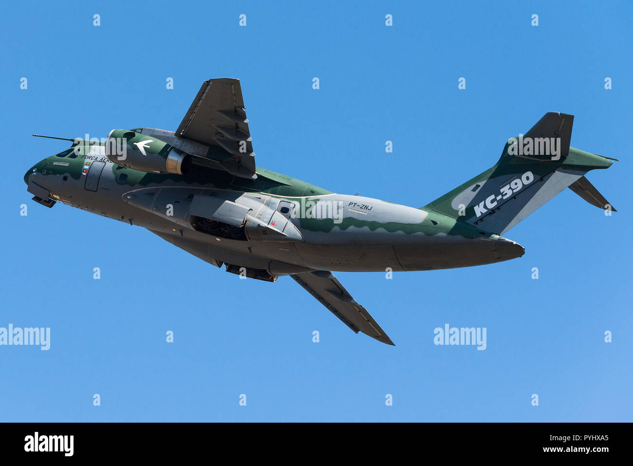 Departure of an Embraer KC-390 military transport aircraft of the Brazilian Air Force. - Stock Image