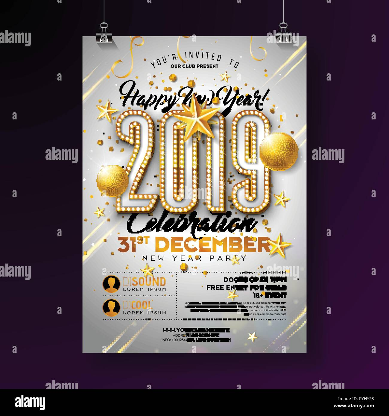 2019 new year party celebration poster template illustration with lights bulb number and gold christmas ball on white background vector holiday premium invitation flyer or promo banner stock vector image art https www alamy com 2019 new year party celebration poster template illustration with lights bulb number and gold christmas ball on white background vector holiday premium invitation flyer or promo banner image223514539 html