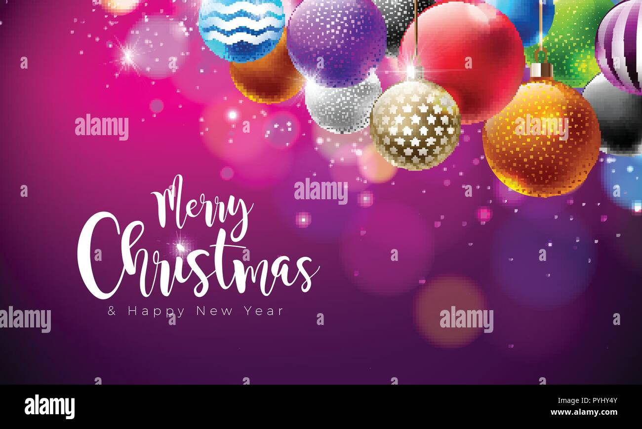 merry christmas illustration with multicolor ornamental balls on shiny purple background vector happy new year design for greeting card poster or banner