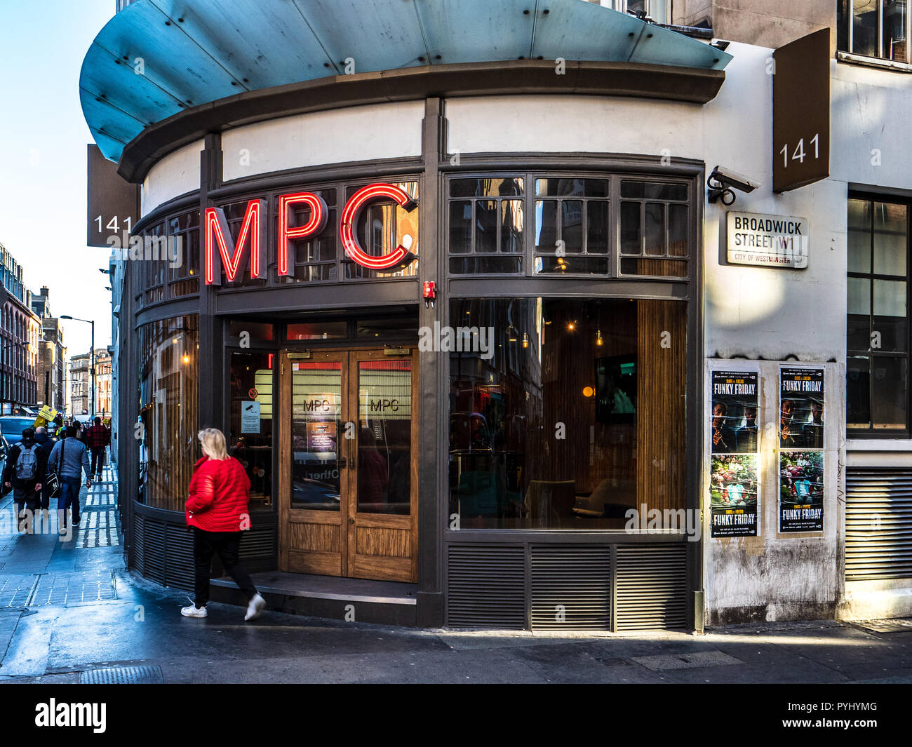 MPC M.P.C the Moving Picture Company Headquarters in Wardour Street Soho London. British visual effects and film production studio, founded 1974 - Stock Image