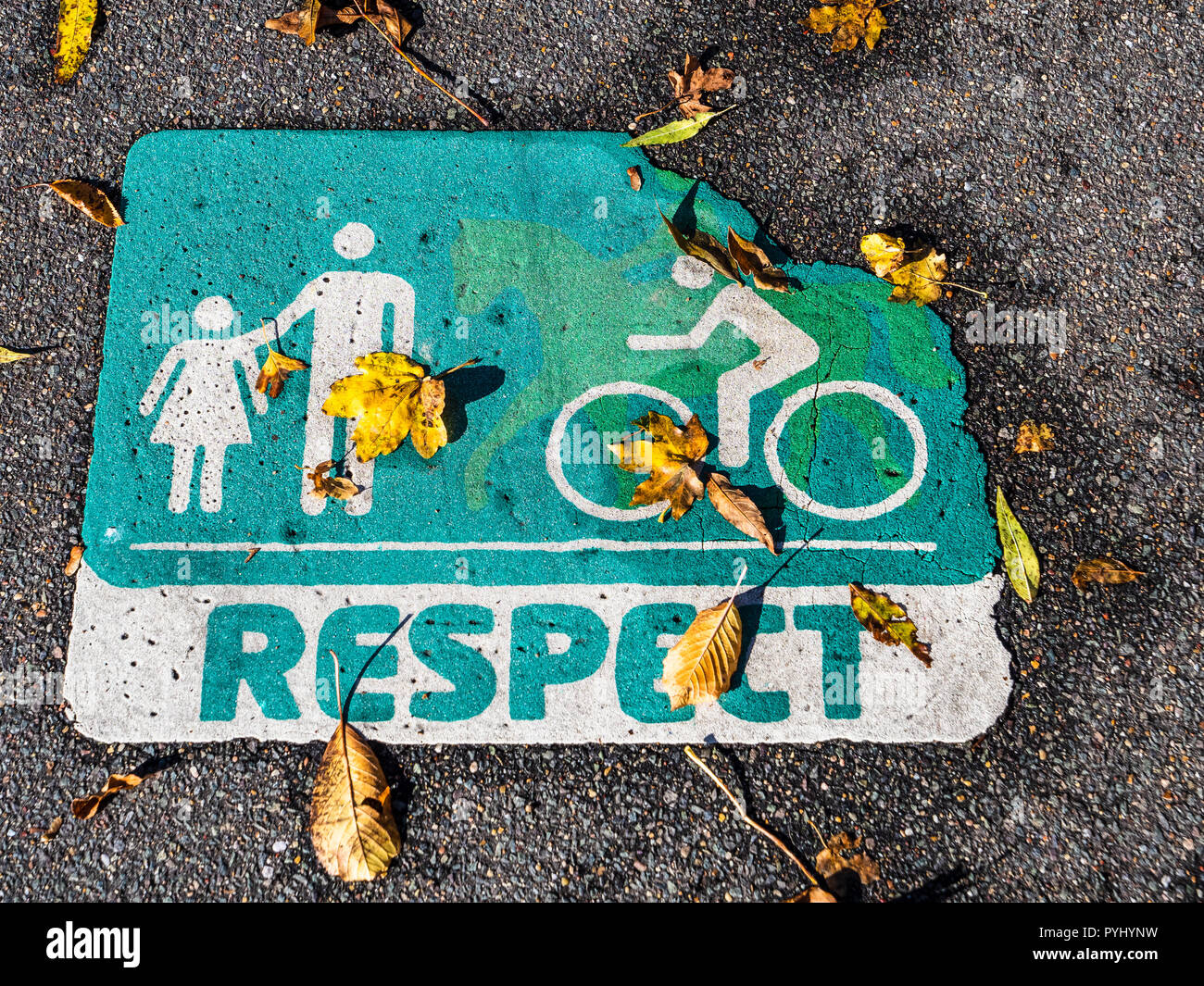 Cycling Shared Use Path Respect Sign - Stock Image