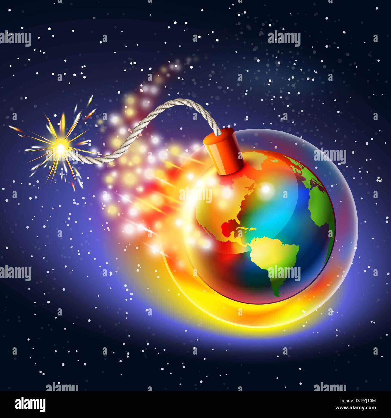 Global warming warning concept. Ozone hole, ultraviolet and greenhouse effect. - Stock Vector