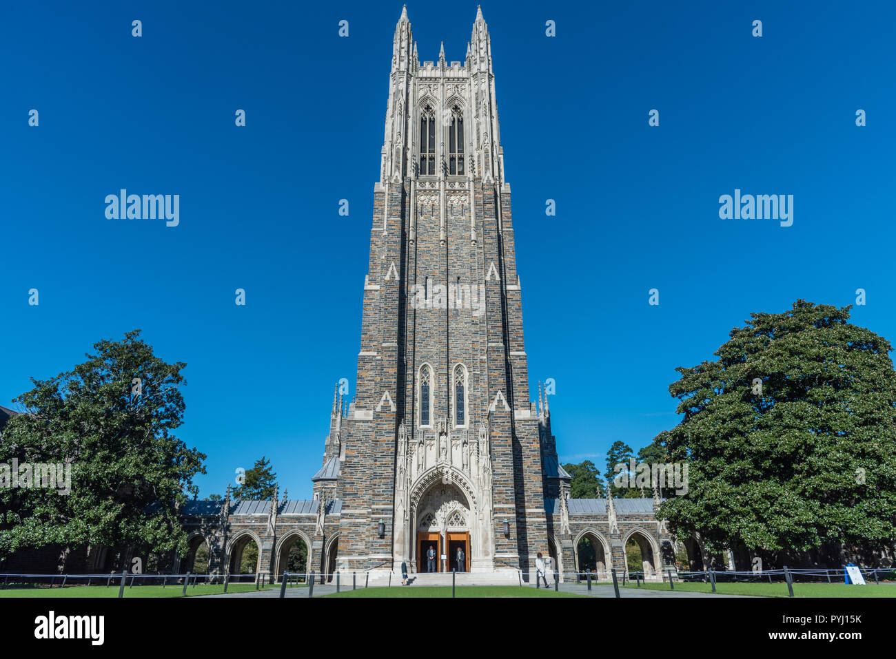 Front view of the Duke Chapel tower in early fall, Durham, North Carolina - Stock Image
