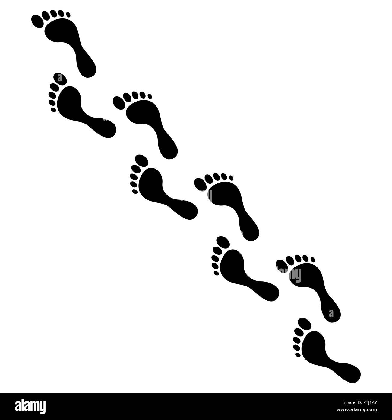 Human foot steps vector illustration - Stock Vector