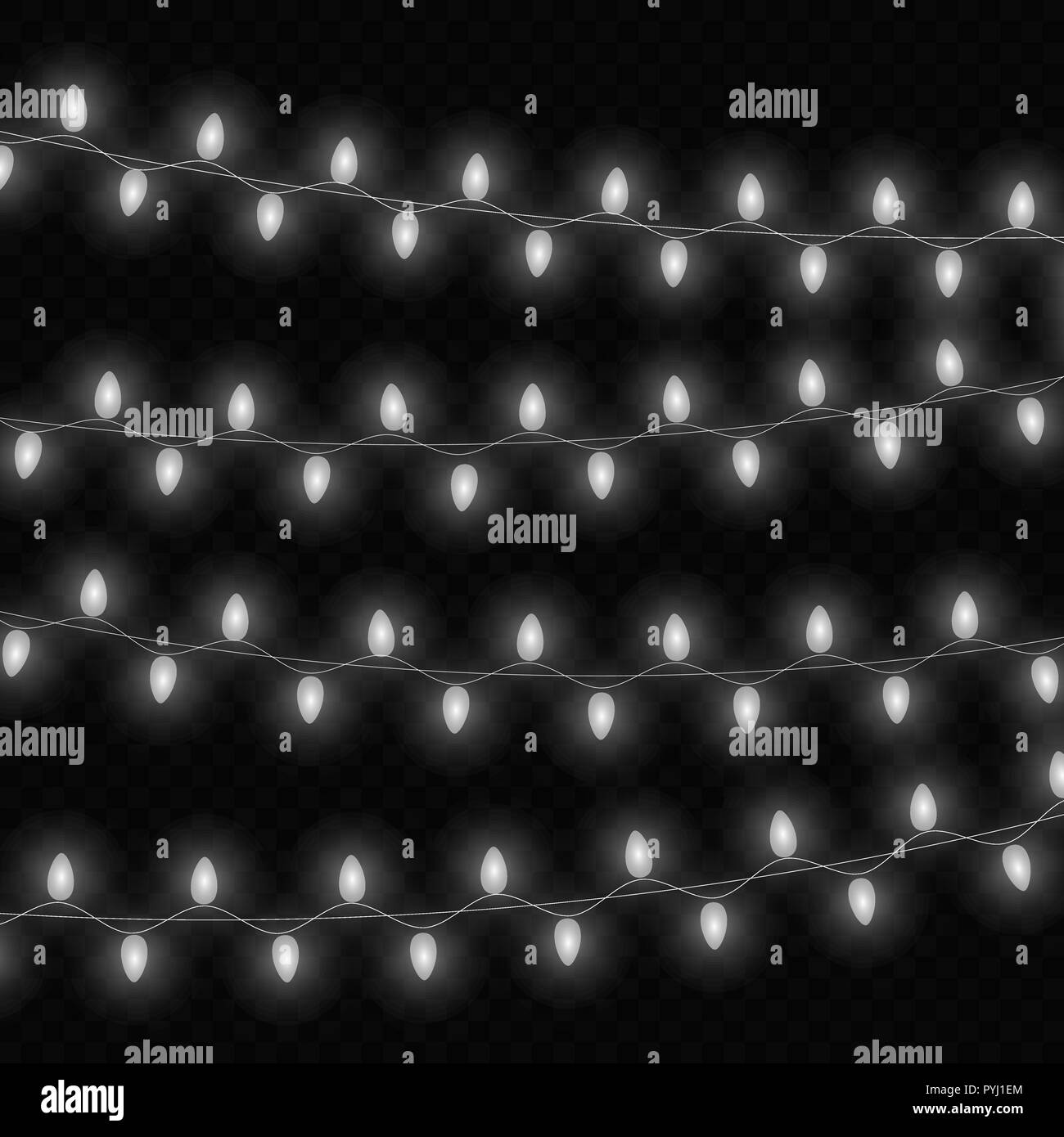 Christmas lights isolated realistic design elements. Glowing lights for Xmas Holiday greeting card design.