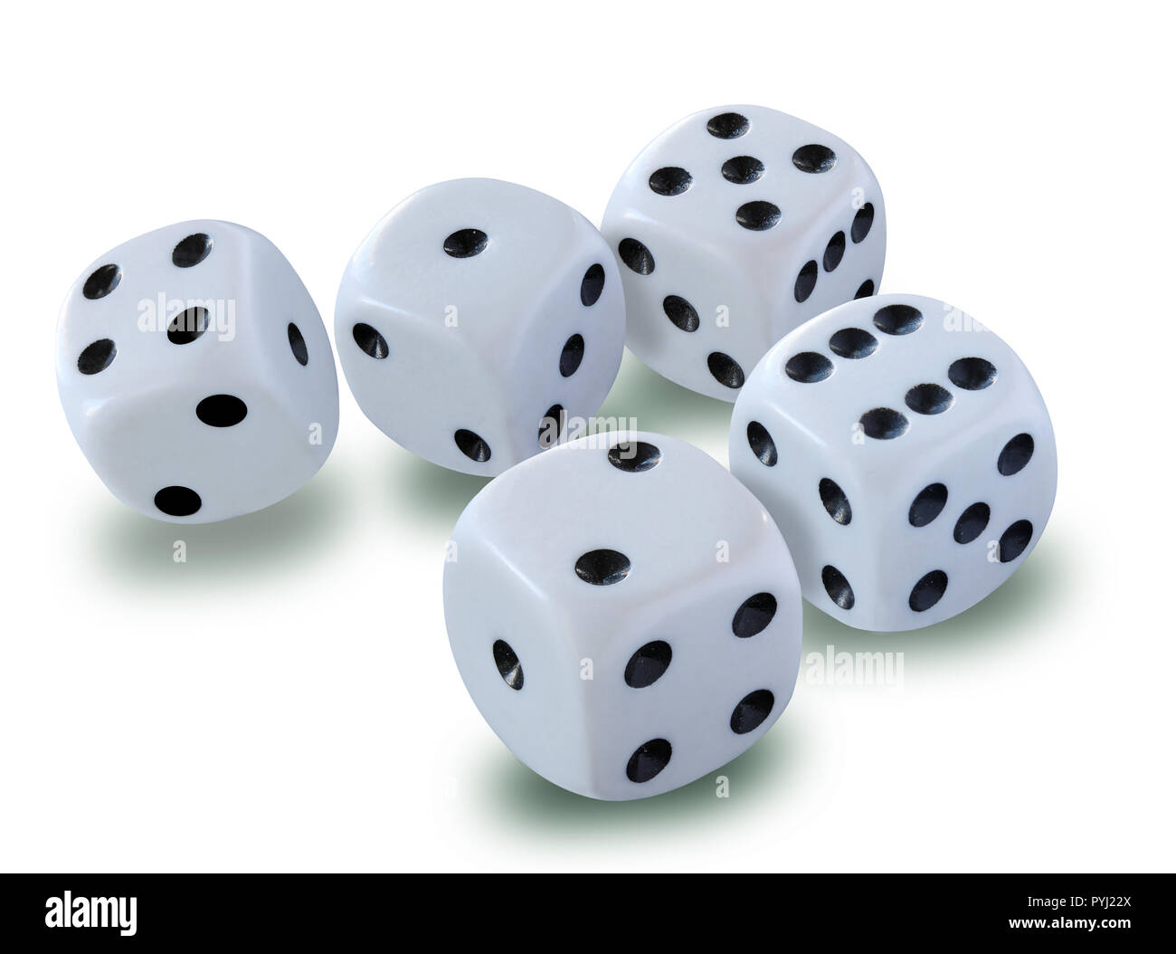 White dices on white background with drop shadows - thrown in a craps game, yatsy or any kind of dice game - Stock Image