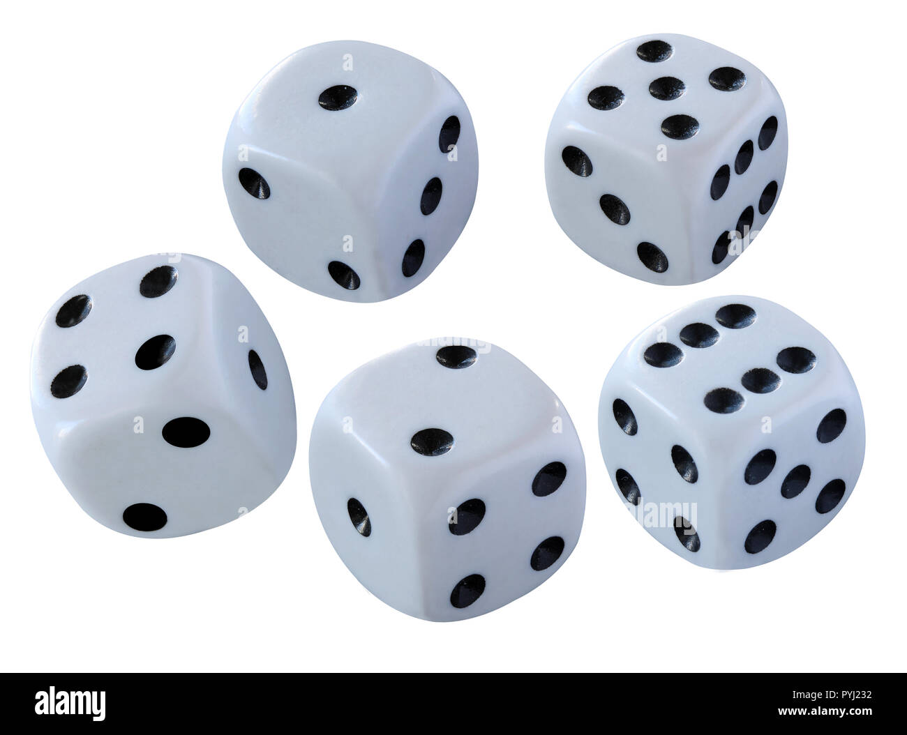 White dices isolated on white background - thrown in a craps game, yatsy or any kind of dice game - Stock Image