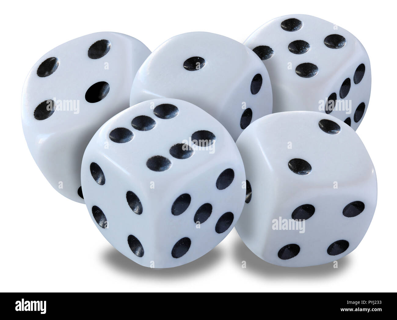 Big white dices in a pile - thrown in a craps game, yatsy or any kind of dice game against a white background with drop snadows - Stock Image