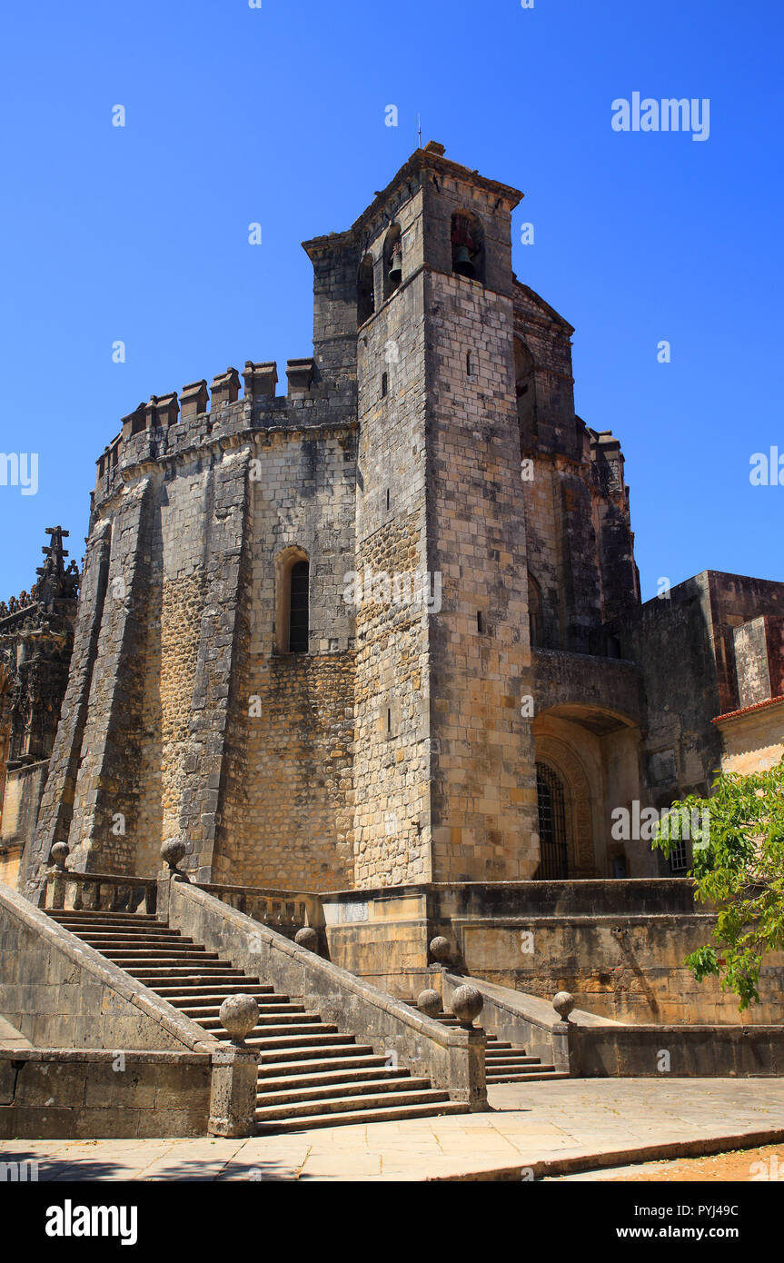 The 12th-century Convent of Christ in Tomar, Portugal. Founded by the Knights Templars. UNESCO World Heritage Site. - Stock Image